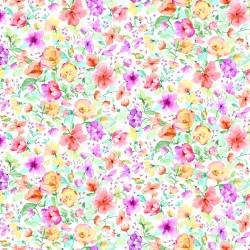 Medium Watercolour Spring Florals - WHITE