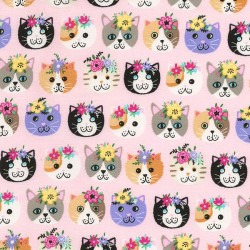 Cat Faces & Flowers - PINK