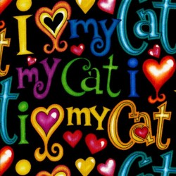 I Love My Cat Words - BLACK