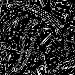 Tossed Music Notes - BLACK