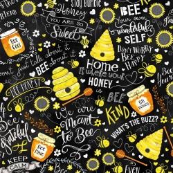 Honey, Hives, Bees & Text - BLACK