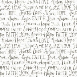 Hope, Faith, Love Words - WHITE