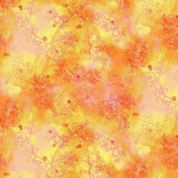 Floral Drawings - ORANGE