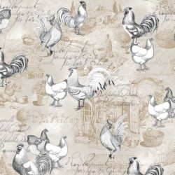 French Grey Chickens on Text - NATURAL