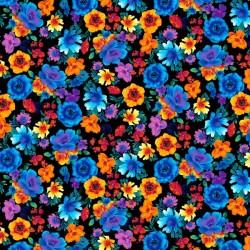 Glow Rainbow Tossed Flowers - BLACK