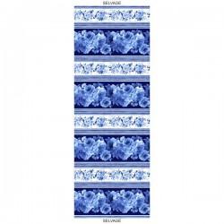 Large Blue Flower Stripe - BLUE