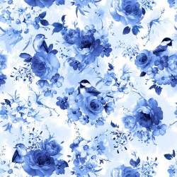 Large Blue Flowers and Birds - BLUE
