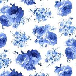 Medium Blue Flowers - WHITE
