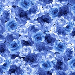 Packed Medium Blue Flowers - BLUE