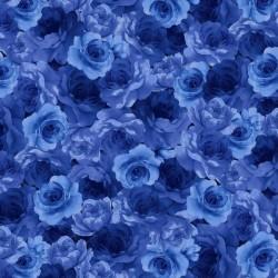 Packed Medium Blue Flowers - NAVY