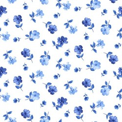 Tiny Blue Flowers - WHITE