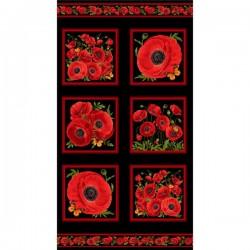 Panel - Red Poppy Square 60cm - BLACK