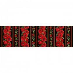 Red Poppy Stripe - BLACK