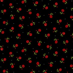 Tossed Small Red Poppies - BLACK