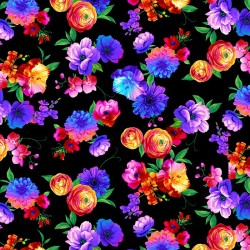 Butterfly magic Bright Florals - BLACK