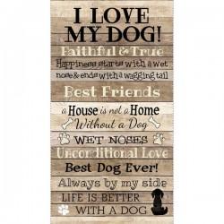 Panel - I Love My Dog 60cm - NATURAL