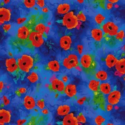 TOSSED POPPIES DIGITAL - BLUE