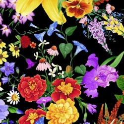 Digital Pansy Bunches - BLACK