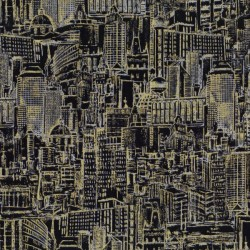 Urban Landscape Sketch Metallic - BLACK