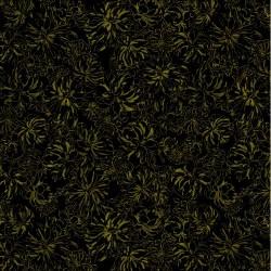 Metallic Peony Outlines - BLACK