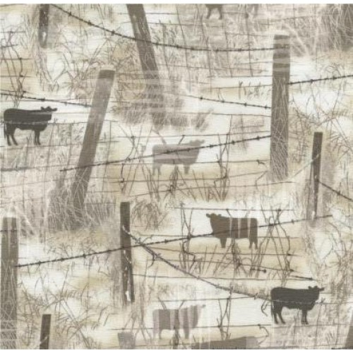 BARBED WIRE WITH COWS - BEIGE